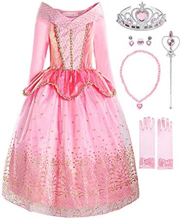 ReliBeauty Girls Princess Dress up Costume with Accessories 4T Pink product image