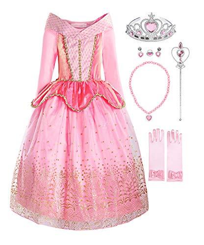 ReliBeauty Fille Robe de Princesse pour Enfant Déguisement Costume de Conte de Fée Tenue Cosplay Noël, avec Accessoires 130 (8 Ans)
