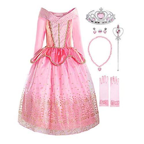 ReliBeauty Ragazza Principessa Vestito Aurora Bambina Costume, Rosa(con Accessori), 3 Anni
