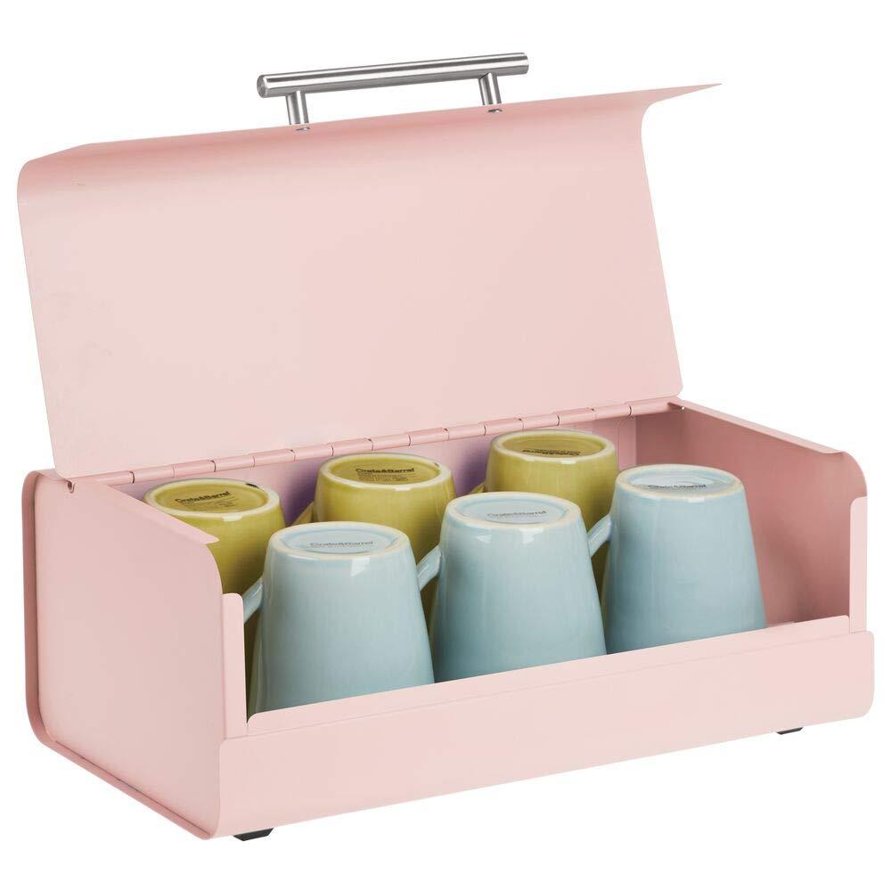 mDesign Panera de Metal – Elegante contenedor para Pan con Estilo Vintage – Caja de almacenaje con Tapa para Guardar Productos horneados y Mucho más – Rosa: Amazon.es: Hogar