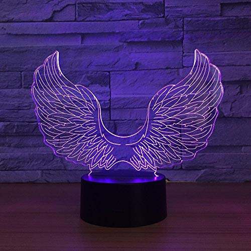 3D Illusion Nachtlicht RGB LED 7 & 16M Farbe Bluetooth APP Angel Wings Familiengeschäft Romantische Atmosphäre Kinder Freunde Weihnachtsgeschenke