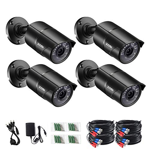 ZOSI 4 Pack 2.0 Megapixel HD 1080P HD-TVI Security Cameras Day Night Waterproof Camera 120ft IR Distance 720P / 1080N / 1080P/5MP/4K HD-TVI AHD CVI Analog DVR Systems
