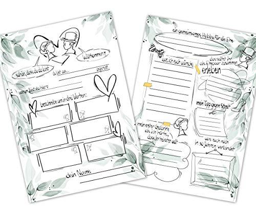 55 Gästebuchkarten Hochzeit mit witzigen Fragen, Hochzeitsspiel für Brautpaar, Hochzeitsgäste, Hochzeitsfeier, Gäste-Wünsche, Wunschkarten, Gästebuch Alternative