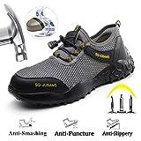 Meng Zapatos de Seguridad para Hombres Zapatos de Acero con Punta de Seguridad,Zapatillas Deportivas Ligeras e Industriales Transpirables (Color : Gray, Size : 43)