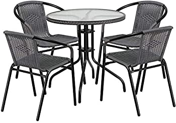 Flash Furniture 28 Round Glass Table With Chairs