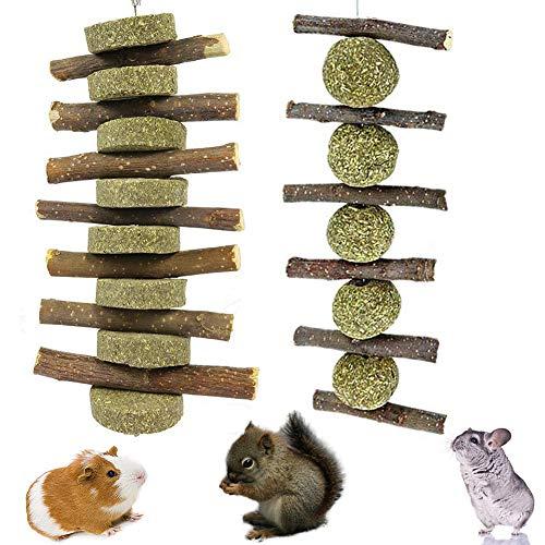 Hamster Kauenspielzeug, BESTZY 2PCS Pet Snack Spielzeug mit Gras Kuchen Kleintiere Kauspielzeug Apfelholz Kauen Stöcke für Kaninchen, Chinchilla, Meerschweinchen