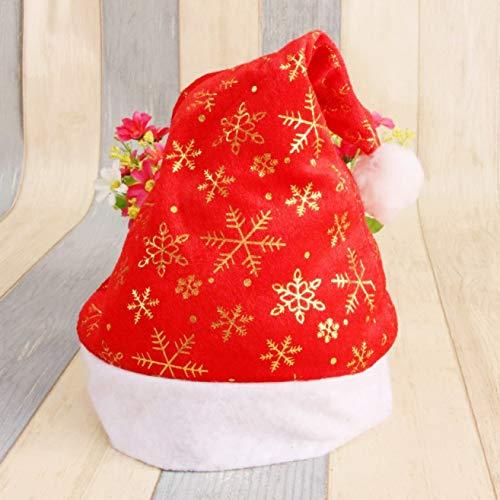 aixingwuzi eenvoudige kerstman muts rode pet voor kerstman fluweel kostuum nieuwe partij decor wit goud sneeuwvlok Goud