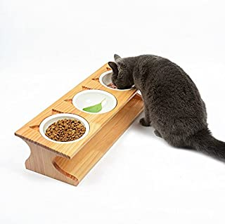 Smith Chu Premium Elevated Pet Bowls, Raised Dog Cat Feeder Solid Bamboo Stand with Ceramic Food Feeding Bowl - Cute Kitty...