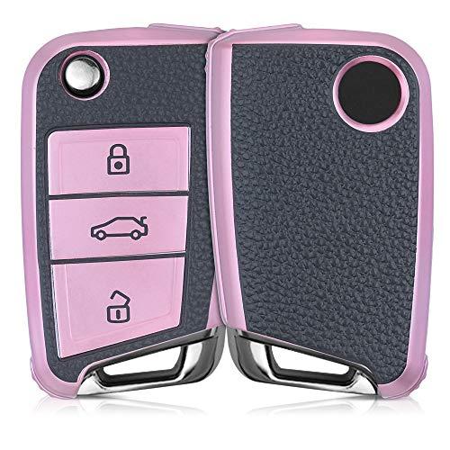 kwmobile Autoschlüssel Hülle kompatibel mit VW Golf 7 MK7 3-Tasten Autoschlüssel - Schlüsselhülle Cover Rosegold Schwarz