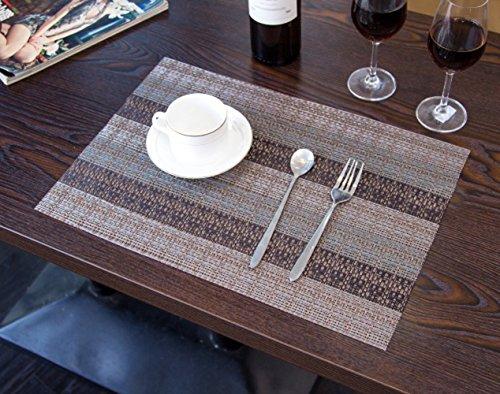 TININNA Lot de 4 sets de table lavables à rayures - Marron