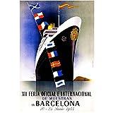 zkpzk Vintage World Travel Tourism Poster Barcelona por Barco Pinturas Clásicas En Lienzo Arte De La Pared Imágenes Carteles Obras De Arte Decoración para El Hogar Regalo-40X60Cmx1 Sin Marco