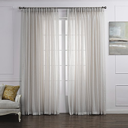 """PASSENGER PIGEON White Solid Sheer Double Pleated Top Window Treatments Curtains Draperies Panels with Multi Size Custom 42"""" W x 63"""" L (One Panel)"""