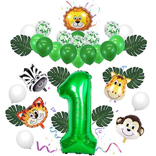 Sunshine smile Globos Numeros 1 Decoracion,Globos Numeros Gigantes,Decoración de cumpleaños Selva,Decoración de cumpleaños de Safari,Globos Animales cumpleaños,Hojas de Palma (A)