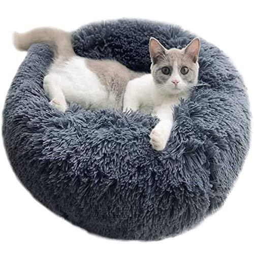 YOHAPPY Cama para Mascotas para Gatos y Perros, Cama para Perros Redonda súper Suave Cama Ovalada con Forma de Dona Cueva para Gatos y Perros pequeños y medianos (50 cm de diámetro) (Gris Oscuro)