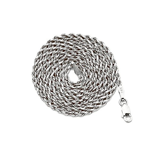"10K White Gold 2mm Diamond Cut Hollow Rope Chain Necklace with Lobster Lock (26"")"