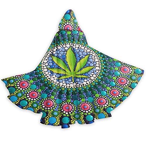 Capa con capucha de Halloween Trippy Marihuana Hoja Maleza Mandala Puntos Bruja Navidad Adulto Cosplay Fiesta Cape Disfraz