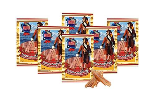Bacalao del Pacífico - ahumado (6 x 36 g) Snack natural Secado y salado I Bajo en carbohidratos I Alto en proteínas I fitness snack I Pescado seco rico en Omega -3 I para hombres y mujeres