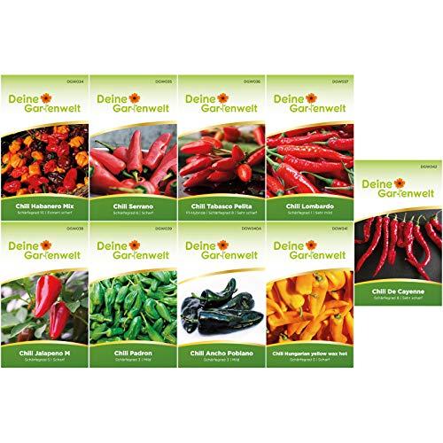 Chilisortiment | Chili-Set mit 9 Sorten Samen | Chilisamen-Sortiment | Chilisamen-Set