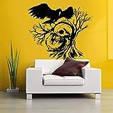 yaonuli Etiqueta engomada del Cuervo del árbol del cráneo Etiqueta engomada de la Muerte Nombre del Diablo Etiqueta de la Pared de la Ventana del Coche Mural Decorativo 63X105cm