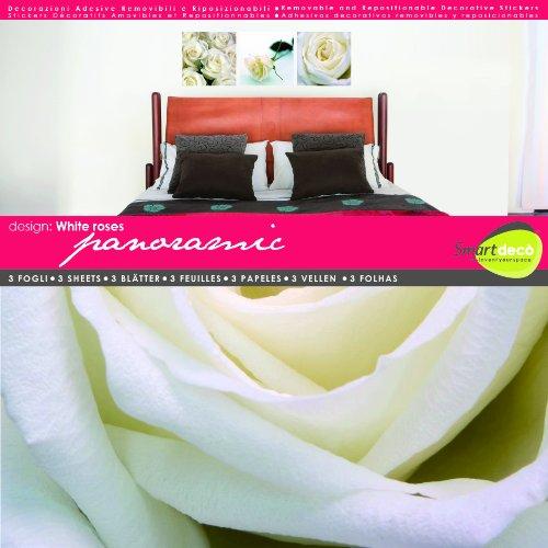 Smartdeco Décalcomanie murale 1 pièce de Roses Blanc