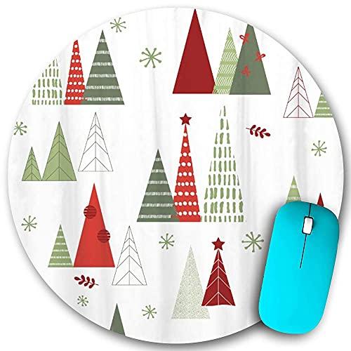 Rundes Mauspad rutschfester Gummi, geometrischer moderner Design-Weihnachtsbaum, wasserdichte, haltbare Mausmatte Büro-Desktops Persönlichkeit 7,9 'x 7,9'