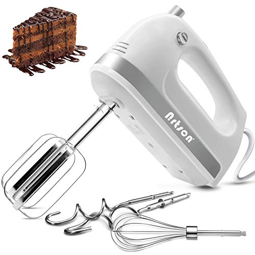 Nrtson Hand Mixer Electric, Handheld Kitchen Mixers with 5 Stainless Steel Attachments, 5-Speed Max 400W Powerful Turbo for Baking Cake Egg Cream Food Beater