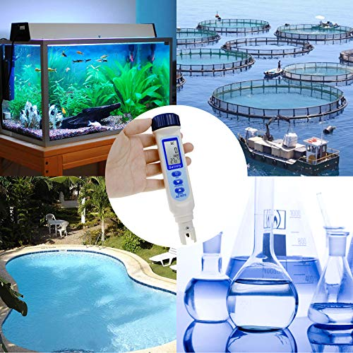 Pen Type Salinity Temp Meter Probe Sensor Tester Monitor Measurement Checker ATC NaCl 100 PPT / 9999 ppm / 10% / 0.95-1.08 SG for Water Quality Pond Pool Aquarium Saltwater Seawater Drinking Water