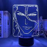 Lámpara de ilusión 3D Luz de noche Led Anime Bleach Sosuke Aizen 7 colores Lámpara de mesa Niño Niña Regalo de cumpleaños Dormitorio Decoración de oficina