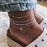 Homeofying 4 Unids/Set Summer Beach Mujeres Moon Charm Anklet Sandalias Barefoot Ankle Bracelet Boho Beach Vocation Anklet Vacaciones para Las Mujeres Plata