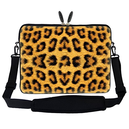 Meffort Inc 17 17.3 inch Neoprene Laptop Sleeve Bag Carrying Case with Hidden Handle and Adjustable Shoulder Strap - Leopard Prints