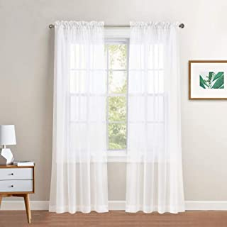 PONY DANCE White Sheer Curtains - Voile Panels Casual Light-Weighted Rod Pocket Sheers Drapes for Cafe/Kitchen/Bedroom Window/Kids' Room, 60 W x 63 L, White, Set of 4