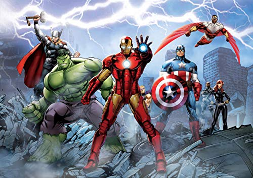 AG Design FTD 2230 Avengers Marvel, Papier Fototapete - 360x254 cm - 4 teile, Papier, multicolor, 0,1 x 360 x 254 cm