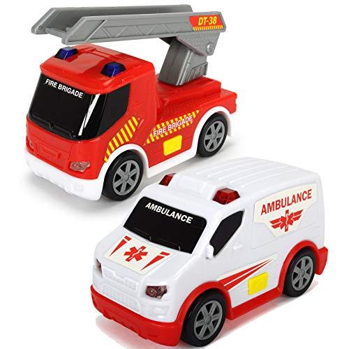 #11 Feuerwehrauto und Ambulanzfahrzeug 10 cm mit Freilauf, Licht Sound - Feuerwehr Ambulanz 10cm Leiterwagen Spielzeug Einsatzwagen Fahrzeug