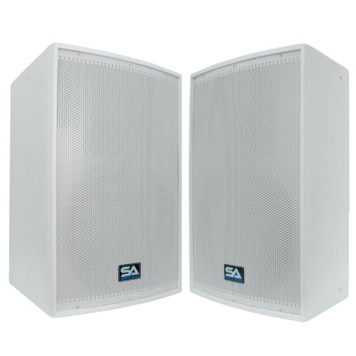 """Seismic Audio - Pair of 15"""" White Church PA/DJ Speakers - White Textured Painted - Flyware for Hanging - Monitors - Pole Mountable"""