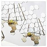 HONGBI Hexagonal 3D Espejos Pegatinas de Pared Decoración para el hogar Sala de Estar Espejo Etiqueta de la Pared,Plata,12...