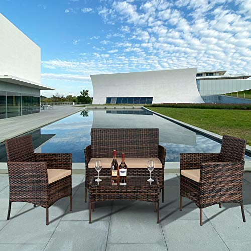 Kiwifruit Rattan Garden Furniture Set,Arrival in 2-5 days, 2pcs Arm Chairs 1pc Love Seat & Tempered Glass Coffee Table,