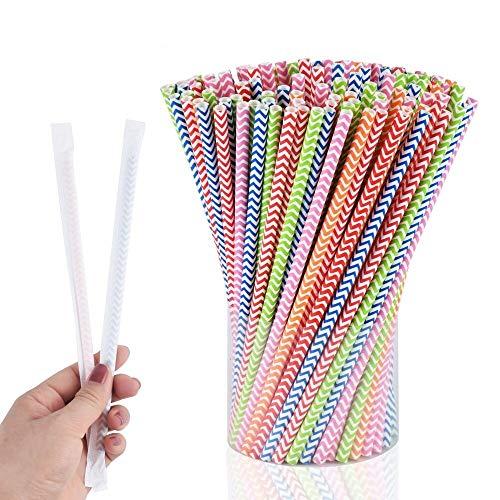 Hombrima Cannucce di carta biodegradabili, confezionate singolarmente con cannucce di carta a righe arcobaleno, per succhi, feste, matrimoni (confezione da 150)