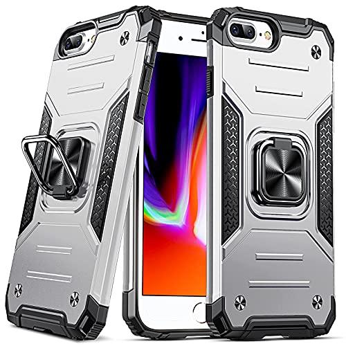 DASFOND Coque Compatible avec iPhone 6 Plus/6S Plus/7 Plus/8 Plus, Housse de Protection Antichoc de Qualité Militaire, Etui avec Anneau Métallique Rotatif à 360 Degrés[Support Magnétique], Argent