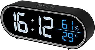 LED -skrivbordsklocka Snooze Lätt Dubbel Väckarklocka Med USB -laddare Ställ In Full Range Brightness Temperatur Och Luftf...