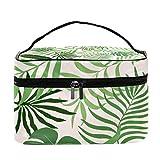 Shiiny fondo con hojas de palma, multifunción, portátil, organizador de artículos de aseo para mujeres con bolsillo de malla para maquillaje