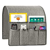 Sofa Armrest Organizer, Non-Slip Couch Caddy Armchair Arm Chair Caddy with 6 Pockets Armchair Caddy forSmart Phone, Book, Magazines, Ipad, TV Remote Control Holder (Light Grey ,19'' x 35'')