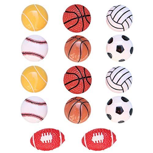 STOBOK 14Pcs Esporte Voleibol Encantos Bola De Tênis De Futebol Basquete Beisebol Esferas de Resina Flatback para A Tomada de Ofício De Fadas Em Miniatura Acessórios Para Jardim Caso de