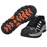 Zapatos de Seguridad Hombres, Zapatillas de Trabajo con Punta de Acero Zapatillas de Deporte al Aire Libre, Prueba de Pinchazos Ultra Liviano Transpirable(43-Charcoal)