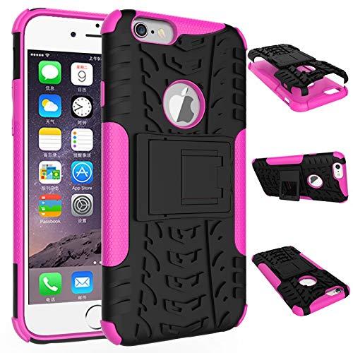 pinlu Funda para iPhone 6 6S (4.7 Pulgada) Smartphone Doble Capa Híbrida Armadura Silicona TPU + PC Armor Heavy Duty Case Duradero Protección Neumáticos Patrón Rose Red