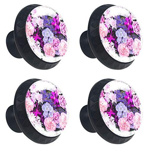 4 pomos para cajones de cristal de cristal para gabinete, tiradores de tiradores de flores rosas y moradas