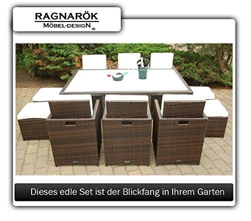 Ragnarök-Möbeldesign PolyRattan Essgruppe DEUTSCHE Marke - EIGNENE Produktion Tisch + 6 Stuhl & 4 Hocker - 8 Jahre GARANTIE - Garten Möbel incl. Glas und Sitzkissen braun Gartenmöbel - 8