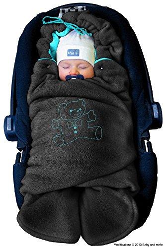 ByBoom - Baby Winter-Einschlagdecke 'Das Original mit dem Bären', Universal für Babyschale, Autositz, z.B. für Maxi-Cosi, Römer, für Kinderwagen, Buggy oder Babybett, Farbe:Anthrazit/Aqua