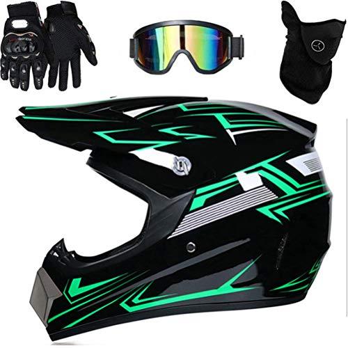 Dan&Dre Casco de Motocicleta, Casco de Motocross Profesional Casco de Motocross Dirt Bike Offroad Conjunto de Casco de Motocicleta Casco MTB con protección Facial Completa y Gafas