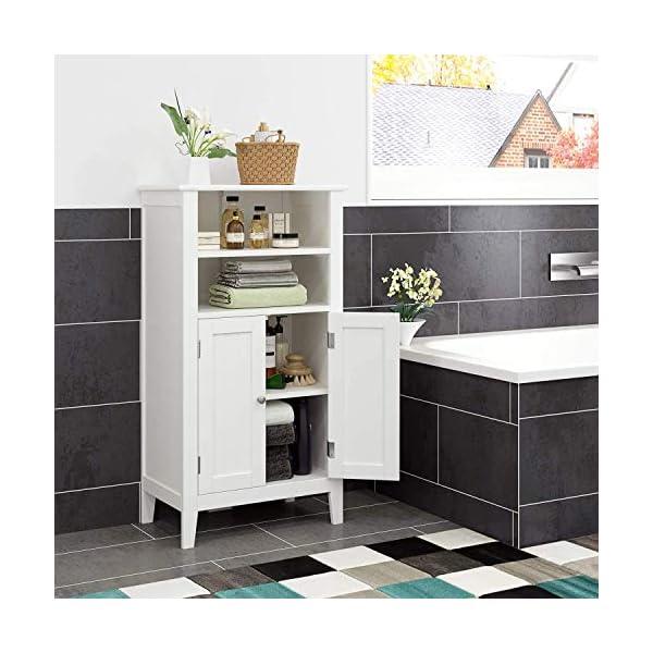 Homfa Mueble Auxiliar Baño Armario de Suelo para Baño Cocina Salón Armario Almacenaje con 4 Compartimentos 2 Puertas…