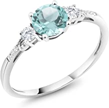 Gem Stone King 10K White Gold Diamond Accent 3-stone Engagement Ring set with Sky Blue Topaz White Created Sapphire 1.05 cttw